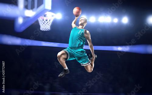 Fotobehang Basketbal basketball player making slam dunk on basketball arena