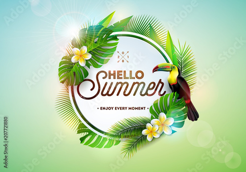 Hello Summer illustration with toucan bird on tropical background. Exotic leaves and flower with holiday typography element. Vector design template for banner, flyer, invitation, brochure, poster or - 207721880