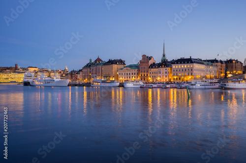 Fotobehang Stockholm Stockholm cityscape skyline at night in Stockholm, Sweden