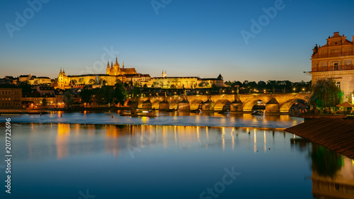 Panorama view of Saint Vitus Cathedral with Prague city skyline at night in Prague, Czech Republic