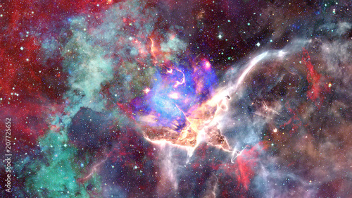 Nebula and stars in outer space. Elements of this image furnished by NASA. - 207725652
