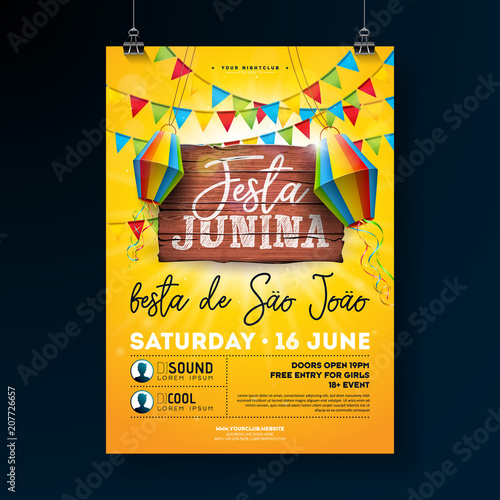 Festa Junina Party Flyer Illustration with typography design on vintage wood board. Flags and Paper Lantern on Yellow Background. Vector Brazil June Festival Design for Invitation or Holiday - 207726657