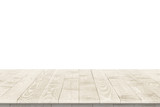 Rustic wooden table vintage style in perspective view for product placement or montage with focus to table. Wooden board surface. - 207727414
