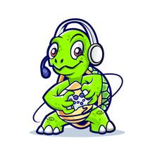 Turtle Game Mascot Design  Sticker