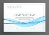 elegant blue wave diploma certificate design - 207729220
