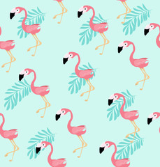 Cute Pink flamingo bird  vector pattern