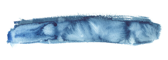 Long thin horizontal backdrop painted in blue watercolor on clean white background © tina bits