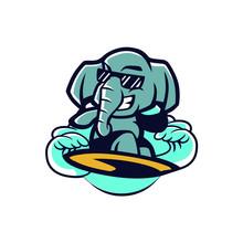 Surfing Elephant Mascot Design  Sticker