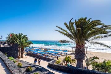 boardwalk and beach in Puerto del Carmen, Lanzarote, Spain