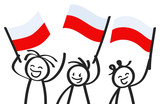 Cheering group of three happy stick figures with Polish national flags, smiling Poland supporters, sports fans isolated on white background