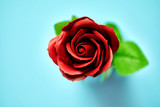 Minimalistic of an artificial red rose image photographed in studio isolated on blue background - 207736616