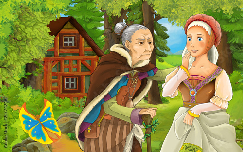 cartoon scene with happy young girl and older woman talking near the old wooden house in the forest-  illustration for children - 207742462
