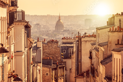 Panorama of Paris, view from the hill of Montmartre, in Paris France - 207743692