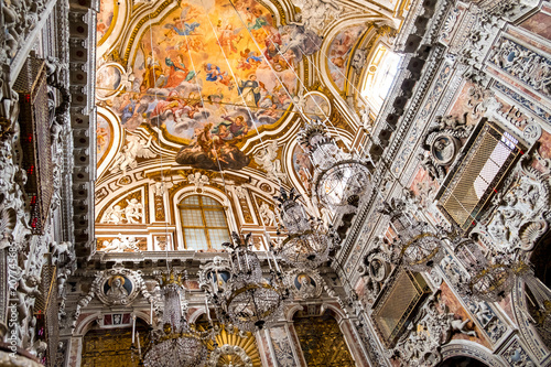 Plexiglas Palermo Palermo, Italy April, 2018: Interiors, frescoes and splendid chandeliers in the Santa Caterina church in Palermo. The church is a synthesis of Sicilian Baroque, Rococo and Renaissance styles.