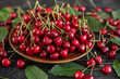 Tasty juicy sweet cherry on a wooden background. It can be used as a background - 207745899