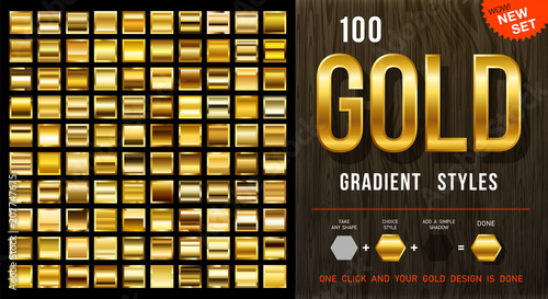 100 wektorowych gradientów złota. Kolekcja złotych kwadratów z konturem. Złota tekstura tło. Mega kolekcja złotych materiałów gradientowych. EPS10