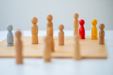 systemic board, family therapy, psychotherapy wooden figures, people, team