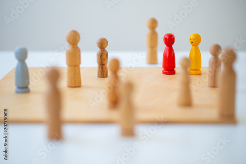 Leinwandbild Motiv systemic board, family therapy, concept, psychotherapy wooden figures, people, team, family Constellation, posing