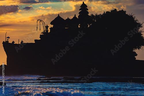 Fotobehang Bali Silhouette of Tanah lot temple in Bali, Indonesia