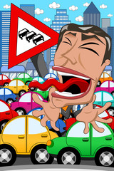 Caricature Businessman Screaming Traffic Jam