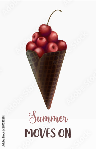 Summer minimalism illustration, creative concept. Digital hand drawn cherry in the waffle chocolate cone on the white background. Summer dessert. Poster, banner, flyer, card. - 207755214