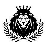 Royal lion in the crown and laurel wreath on a white background. - 207757875