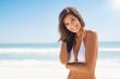 Quadro Beautiful young woman at beach