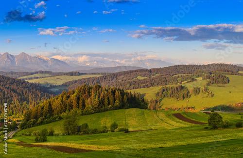 Aluminium Honing Beautiful views of the Pieniny Mountains. Poland.