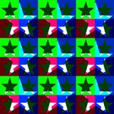 Seamless decorative pattern with a five-pointed stars in a translucent overlay colors - 207759251