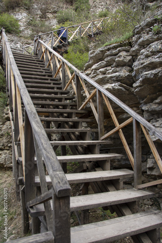 Aluminium Weg in bos orman ve merdivenler