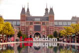 The sign i amsterdam in front of rijksmuseum in Amsterdam on sunrise - 207763496