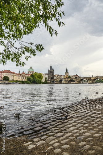 Wall mural Scenic spring view of the Old Town pier architecture and Charles Bridge
