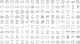 Black business thin line icons set on white background - 207764800