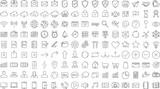 Black business thin line icons set on white background