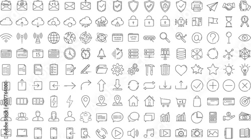 Poster Black business thin line icons set on white background