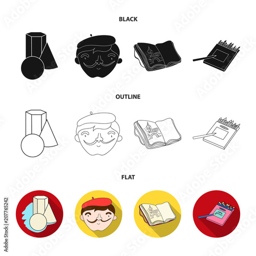 Geometric still life, a self-portrait of the artist, a notebook with drawings, a box of colored pencils.Artist and drawing set collection icons in black,flat,outline style vector symbol stock