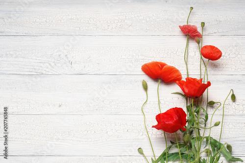Fototapeta Red poppy flowers on white rustic wooden surface.