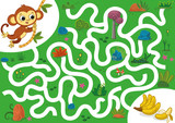 Help the monkey to rich bananas. Vector illustration puzzle game for kids. - 207766042