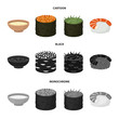 Bowl of soup, caviar, shrimp with rice. Sushi set collection icons in cartoon,black,monochrome style vector symbol stock illustration web.