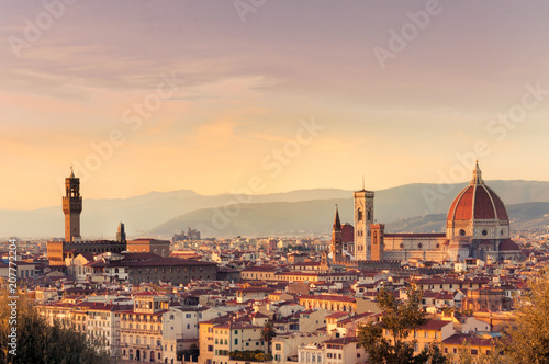 Aluminium Toscane Sunset over the city of Florence, Italy. panoramic view.