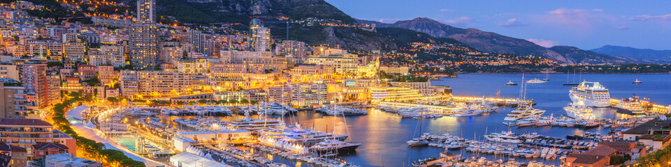 Monaco Panoramic View at Dusk © tichr