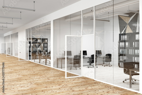 Star wall pattern and glass office lobby