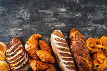 French bread with blackboard copy space