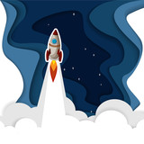 Blue background with stars and rocket.