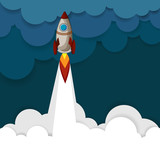 Blue background with colorful rocket.