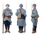 French soldier 1914 1918, November 11th, front, back and side view,  on white - 207780627