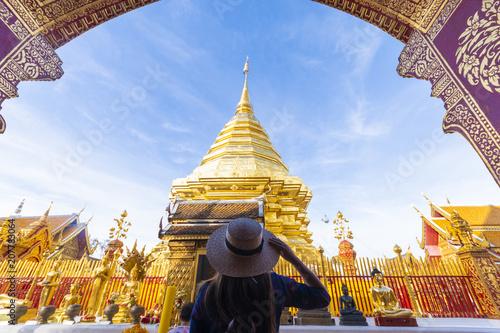 Fotobehang Thailand Tourist is traveling in Wat Phra That Doi Suthep in Chiangmai, Thailand.