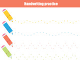 Handwriting practice sheet. Educational children game, printable worksheet for kids. Tracing wavy lines and zig zag - 207788056