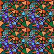 illustration of seamless pattern of circular ornament of different colors - 207791418