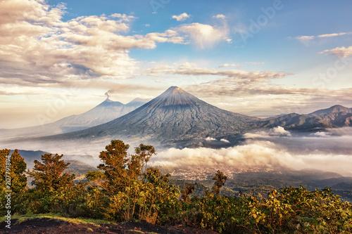 Volcanoes Fuego (active), Acatenango and Agua, View from Pacaya, Guatemala © Ingo Bartussek